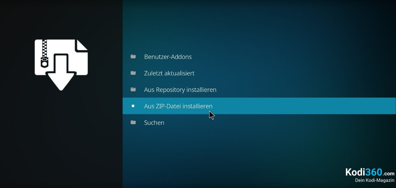 Kodi Addon ZIP Datei installieren