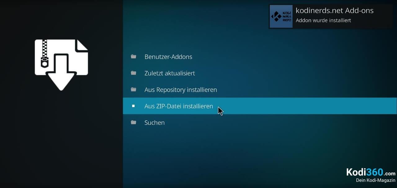 Kodinerds Repository downloden und installieren Bild 2