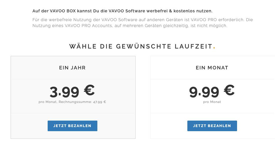 Vavoo Preise vergleichen