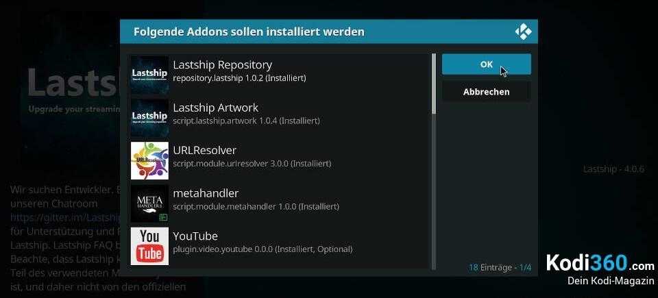 Lastship Kodi Addon installieren 8
