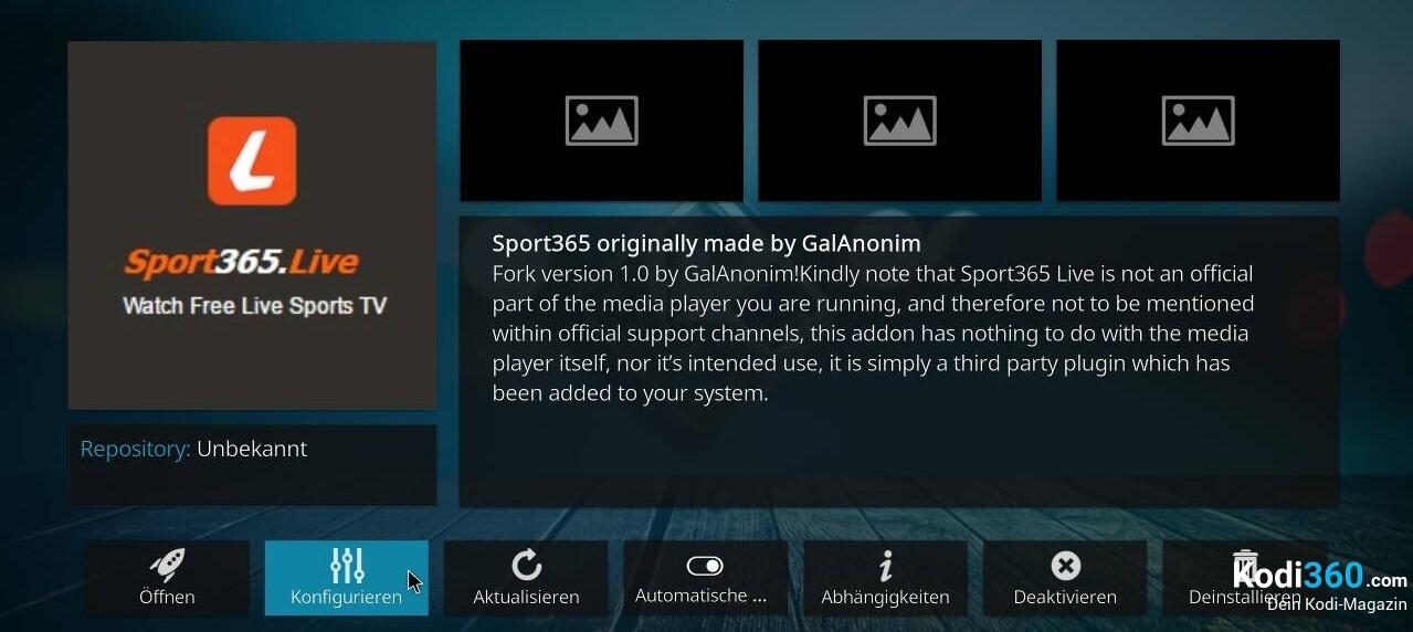 Sport 365 Kodi Addon Problem beheben 1