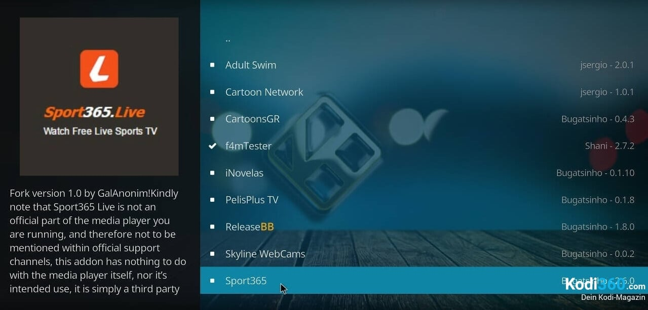 Sport 365 Kodi Addon installieren 7
