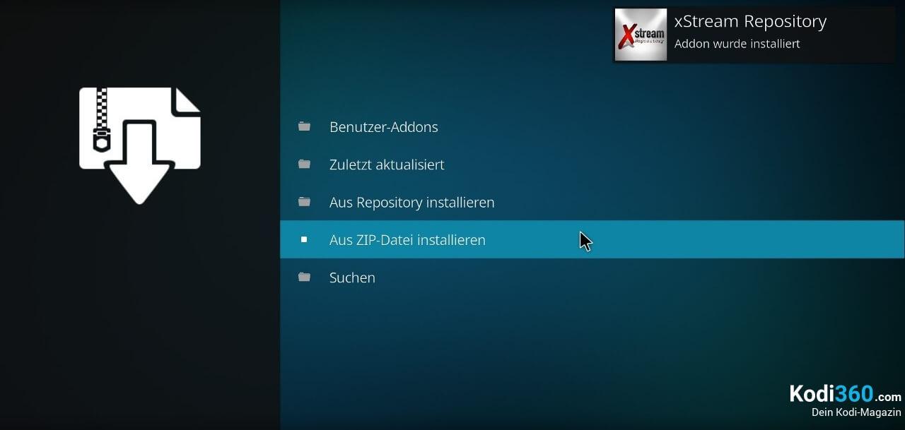 xStream Addon installieren 2