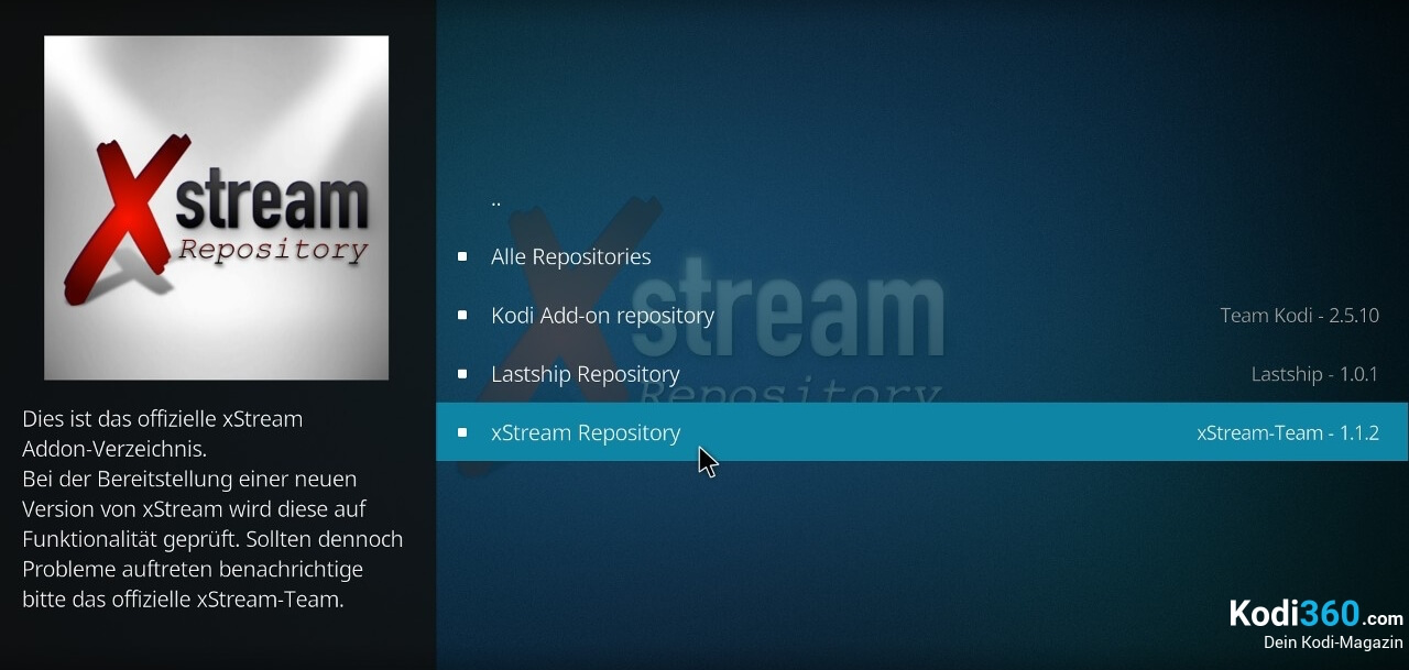 xStream Addon installieren 3